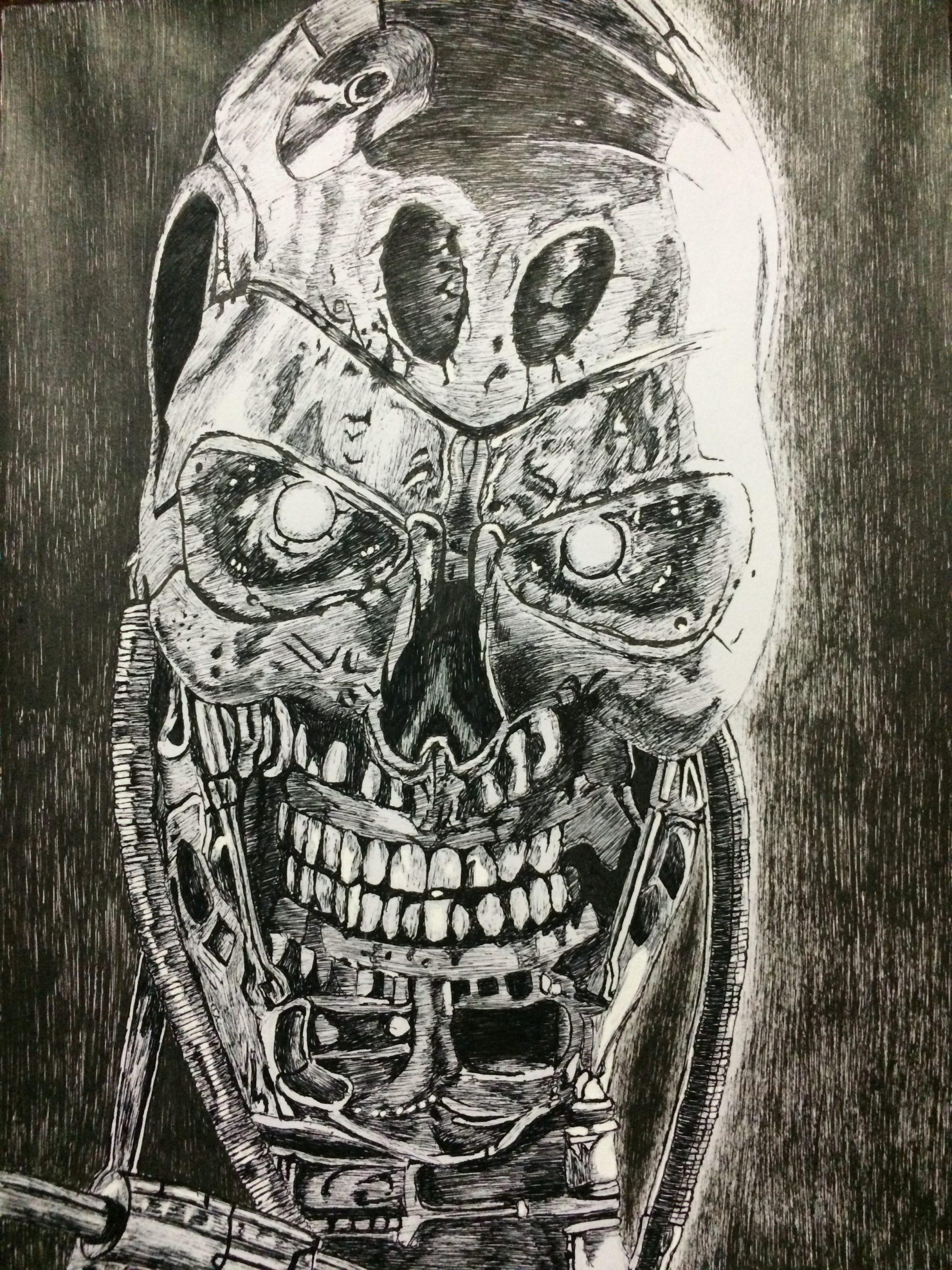 Terminator sketch with black pen
